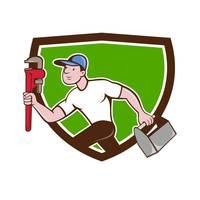 Plumber Running Toolbox Wrench Crest Cartoon