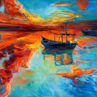 Boat at sunset Art Prints & Posters by Boyan Dimitrov