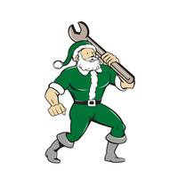 Santa Claus Mechanic Spanner Isolated Cartoon