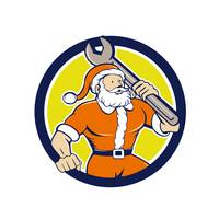 Santa Claus Mechanic Spanner Circle Cartoon