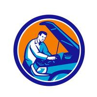 Auto Mechanic Car Repair Circle Retro