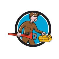 Plumber Carrying Monkey Wrench Toolbox Circle