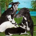 """Greyhounds"" by paintingsbygretzky"