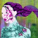 """""""Asian Flower Woman Purple"""" by RubinoFineArt"""