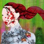 """Asian Flower Woman Red"" by RubinoFineArt"