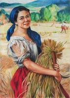 Maiden with Palay Stalks (colored pencil)