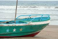 Green and White Fishing Boat