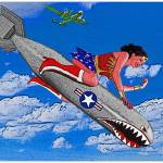 """Wonder Woman Riding Bomb in Clouds"" by Automotography"
