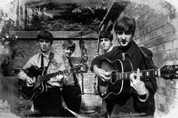 The Beatles In London 1963 Black And White Paintin