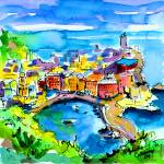 """Vernazza Cinque Terre Italy Watercolor"" by GinetteCallaway"