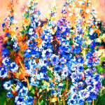 """Delphiniums Impressionist Flowers"" by GinetteCallaway"
