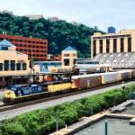 """Pittsburgh PA - Freight Train Going By Station Squ"" by susansartgallery"