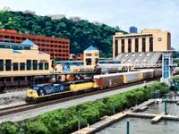 Pittsburgh PA - Freight Train Going By Station Squ