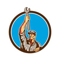 Mechanic Raising Up Spanner Circle Retro