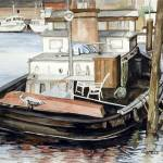 """Tugboat At The Harbor Dock"" by ClotheslineArt"