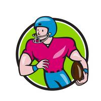 American Football Receiver Running Circle Cartoon