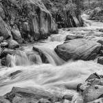 """Cascading Colorado Rocky Mountain Stream BW"" by lightningman"