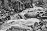 Cascading Colorado Rocky Mountain Stream BW
