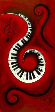 Swirling Piano Keys-Music In Motion