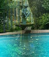Angel Birdbath overlay on swimming pool