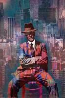 New York Man Seated City Background 2