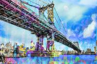 New York City Manhattan Bridge Blue