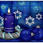 """Blue Candle Christmas"" by ReneeLozenGraphics"