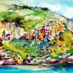 """Corniglia Cinque Terre Italy Watercolor"" by GinetteCallaway"