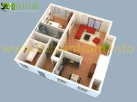 Small House 3D Floor Plan