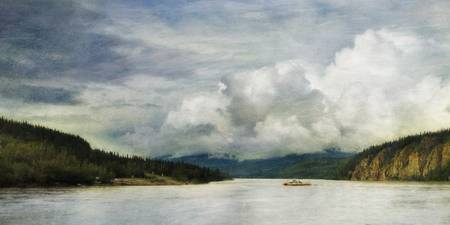 The George Black Ferry is crossing the Yukon River
