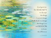 Serenity Prayer Koi Pond Blue Green