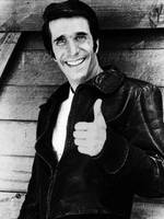 Fonzie Happy Days Black And White Painting