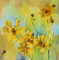 Yellow Blooms 8x8 Acrylic on Canvas