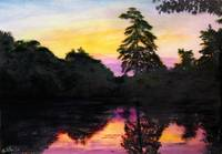 SUNRISE POND MARYLAND LANDSCAPE FINE ART PAINTING