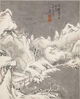 A SNOWY LANDSCAPE WITH FIGURES, COPY AFTER FAN QI