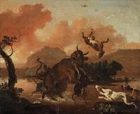 ABRAHAM DANIELSZ, HONDIUS, Dogs attacking a bull.