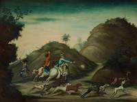 A REVERSE GLASS PAINTING OF A LANDSCAPE WITH A HUN