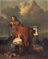 ALEXANDER LAURÉUS, WOMAN MILKING A RED COW