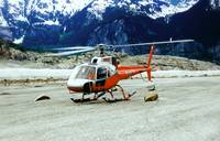 Helicopter Landing on top of Glacier