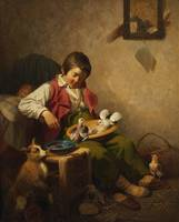 Ferdinand Marohn, Sleeping Boy with Pidgeons and D