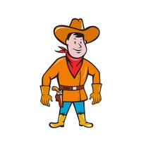 Cowboy Standing Drawing Gun Cartoon
