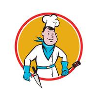 Chef Cook Holding Spatula Knife Circle Cartoon