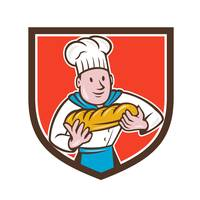 Baker Holding Bread Loaf Shield Cartoon