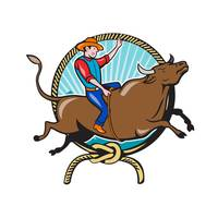 Rodeo Cowboy Bull Riding Lasso Cartoon