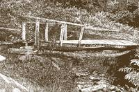 Stamped Wood Bridge over a Stream