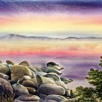 Purple Sunset At The Lake Art Prints & Posters by Irina Sztukowski