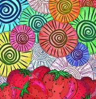 Strawberries and Batik Swirls