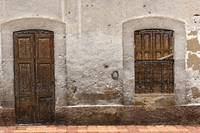 Brown Window and Door in a Wall