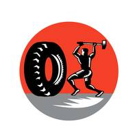 Tire Sledgehammer Workout Woodcut