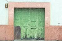 Green Wood Double Doors